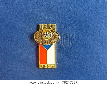 USSR - CIRCA 1984: Badge with the image ball and flag Czechoslovakia, the inscription
