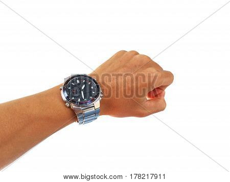Watch on the arm on a  white background