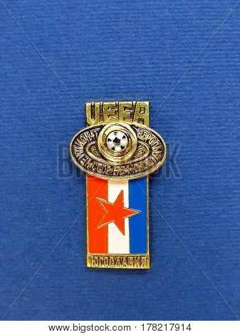 USSR - CIRCA 1984: Badge with the image ball and flag Yugoslavia, the inscription