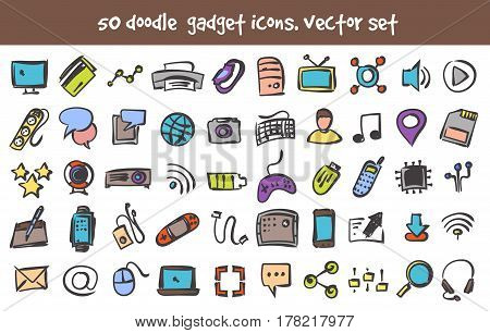 Vector doodle gadget icons set. Stock computer signs for design.