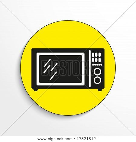Household appliances. Microwave. Vector icon.  Black and white vector image.