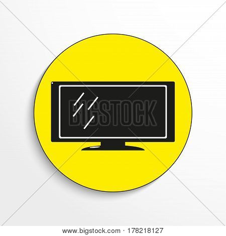 Household appliances. A large flat screen TV. Vector icon.