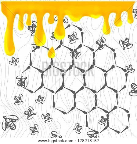 Swarm of bees and honeycomb. Vector background for design
