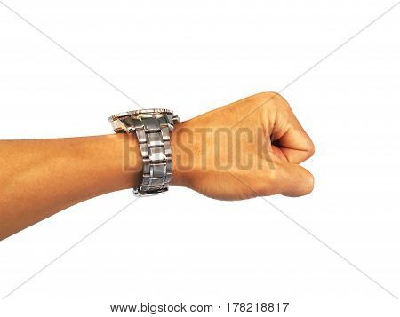 Watch on the arm. on a white background