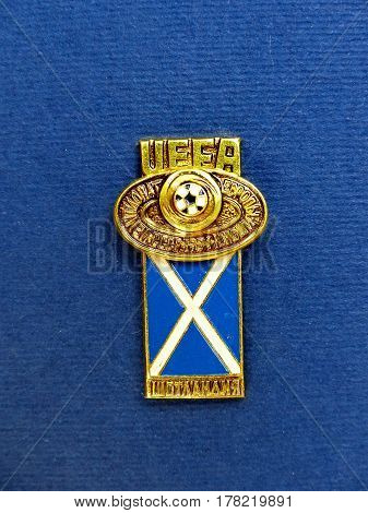 USSR - CIRCA 1984: Badge with the image ball and flag Scotland, the inscription