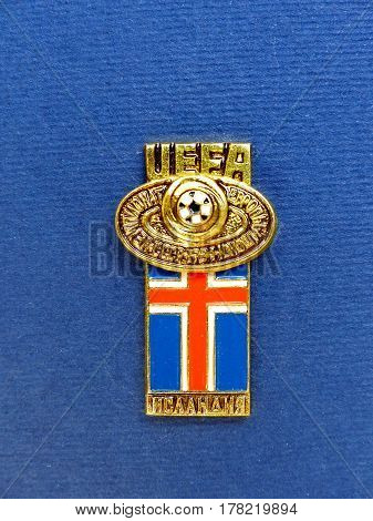 USSR - CIRCA 1984: Badge with the image ball and flag Iceland, the inscription