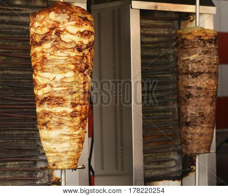 Meat on skewers for doner, traditional Turkish food