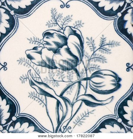 An Art Nouveau original tile dating around 1890 with tulip flower design