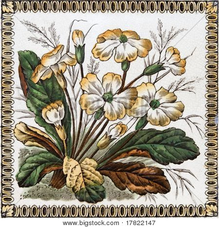 Victorian period decorative arts printed tile with flowers