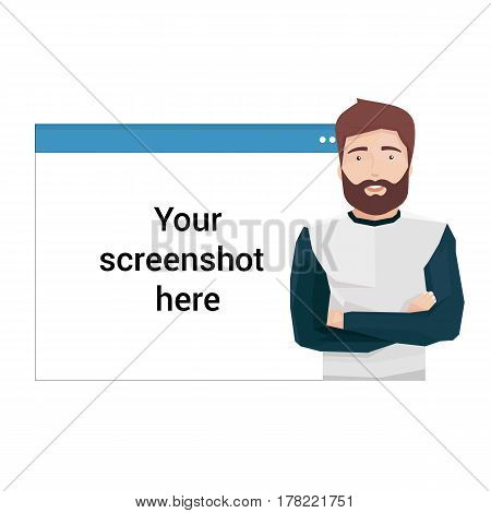 Vector Illustration in Flat Style of a Handsome Man in Front of a Web Browser