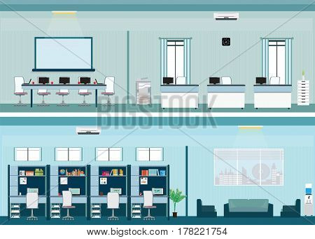 Modern office interior with office desk in flat style vector illustration.