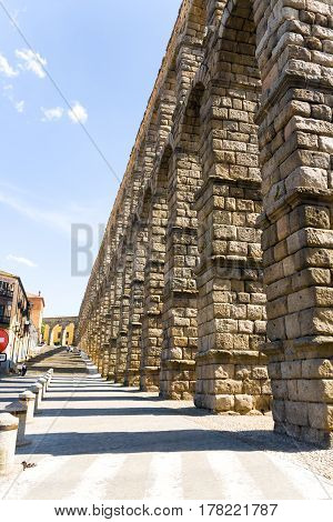 Old roman acqueduct (waterworks) in Segovia Spain