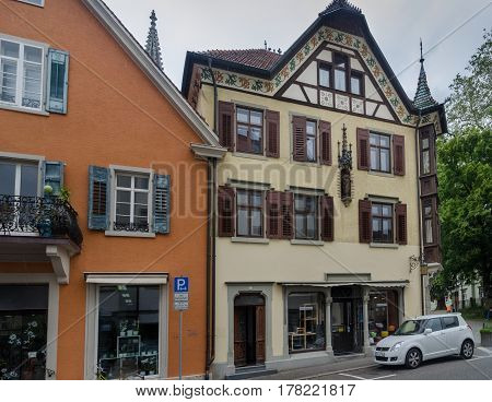 CONSTANCE GERMANY - JUNE 12 2013: Vintage houses at Konstanz city