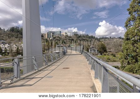 Pedestrian overpass and the OHSU architecture in Portland Oregon.