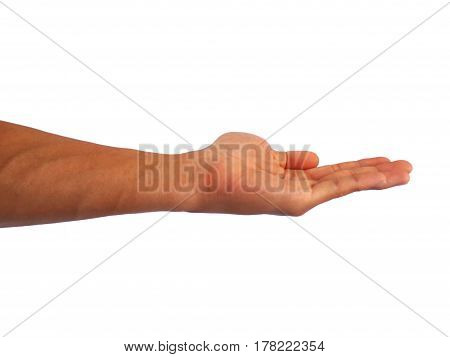 show hand gesture on a white background