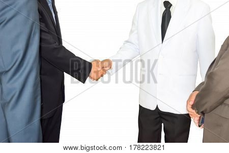 Partners shaking hands businessman shaking hands to seal a deal with his partner,Double Exposure