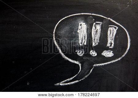 blank bubble speech as comic dialog on blackboard background