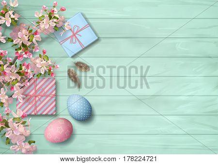 Easter wooden background with gifts, eggs, blossoming tree branches, feathers. Vector top view illustration
