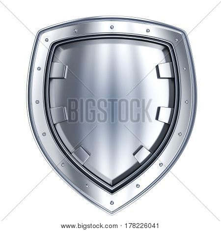 Stell shield isolated only. Protection symbol. 3d illustration