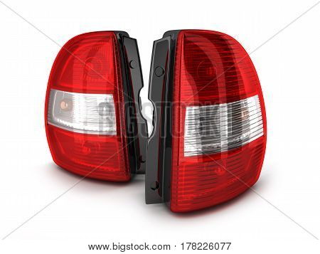 Taillights of car on white background. 3d illustration