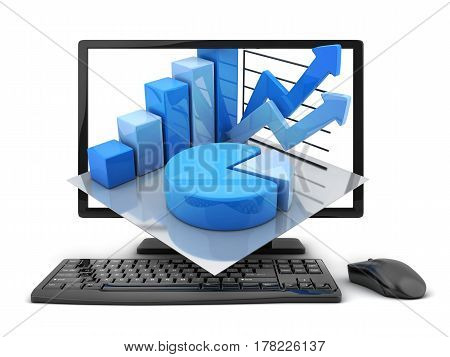 Computer and graph on white background. 3d illustration