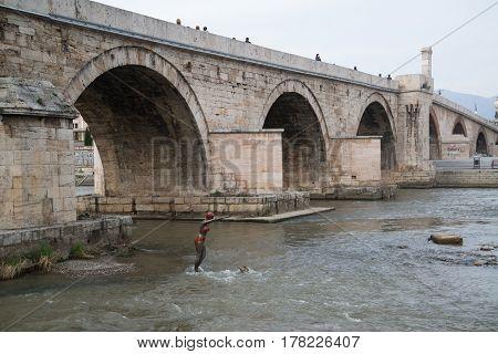 Skopje, Macedonia, march 20, 2017: Stone bridge in the city center of Skopje, Macedonia