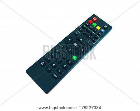 black remote cable tv  on a white background