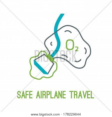 Concept of rules of airplane safety for banner design. Vector thin line icon of oxygen mask for safe travel isolated on white. Safe plane flight.