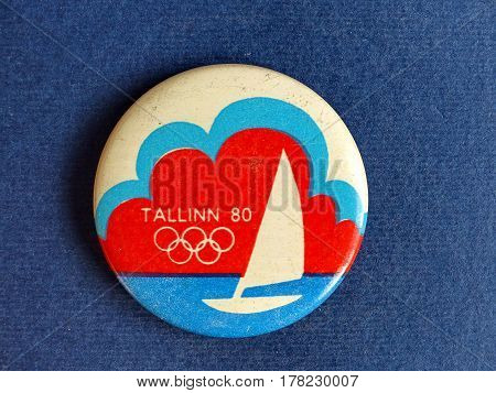 USSR - CIRCA 1980: Badge with a picture of sailing and the inscription