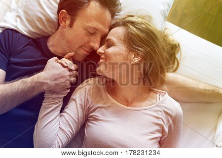 Couple Lover Laying On Bed Happiness Lifestyle