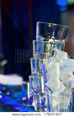 cubes of ice in glass. cocktail