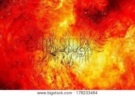 Drawing of ornamental phoenix in cosmic background, fire effect