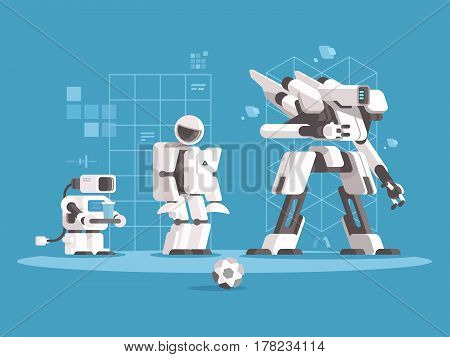Evolution of robotics. Set robots of various generations. Vector illustration