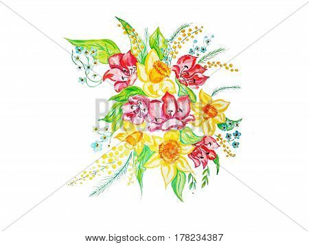 A bouquet of spring flowers - daffodils, tulips, forget-me-nots. Watercolor illustration. Element for design, background.