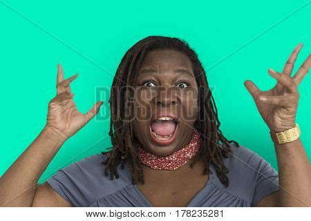 African Descent Woman Open Mouth Portrait