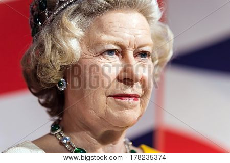 Bangkok -jan 29: A Waxwork Of Queen Elizabeth On Display At Madame Tussauds On January 29, 2016 In B