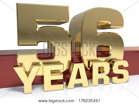Golden digit fifty six and the word of the year. 3D illustration