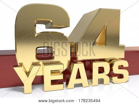 Golden digit sixty four and the word of the year. 3D illustration