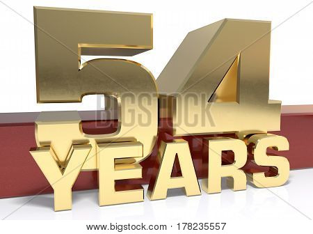 Golden digit fifty four and the word of the year. 3D illustration