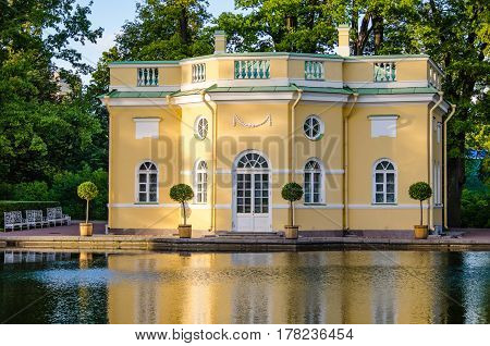 The facade of the old Upper bathhouse of the 18th century in Tsarskoye Selo.