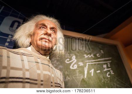 Bangkok - Jan 29: A Waxwork Of Albert Einstein On Display At Madame Tussauds On January 29, 2016 In