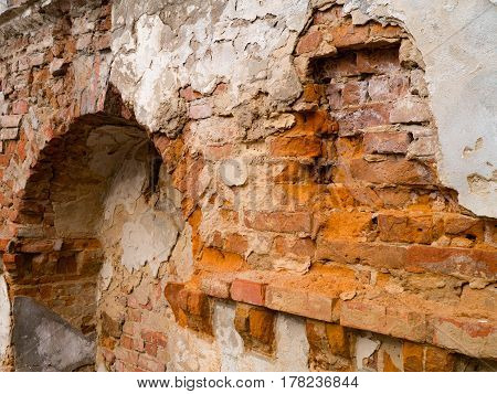 The Ancient brick wall collapsing from antiquity