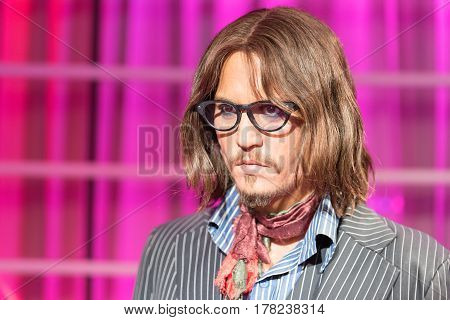 Bangkok - Jan 29: A Waxwork Of Johnny Depp On Display At Madame Tussauds On January 29, 2016 In Bang