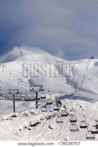 Ski Slope And Ropeways In Evening
