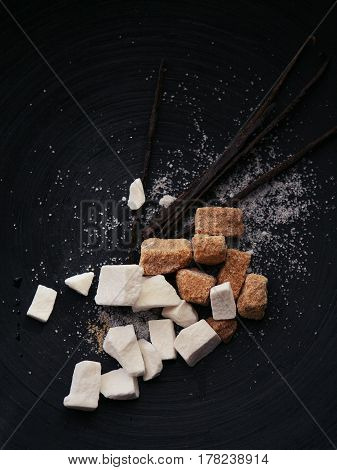 brown, brown sugar, contrast, cooking, cube, dessert, food, minimalistic, vanilla pods, pod, sugar, sweet, still life