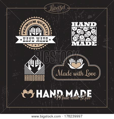 Templates for badges labels tags for hand made product. Set 4. Vector illustration.