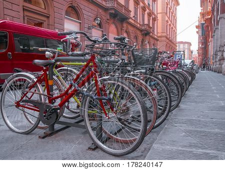 Bicycles on the old street in florence italy europa