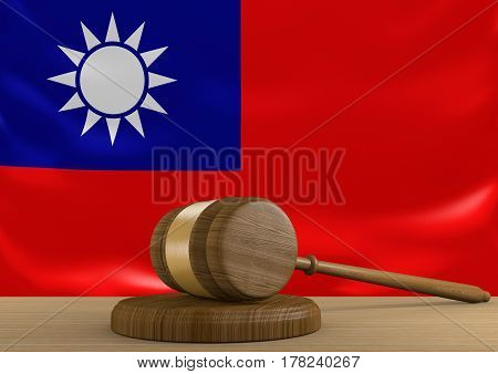 Taiwan law and court justice system with national flag, 3D rendering