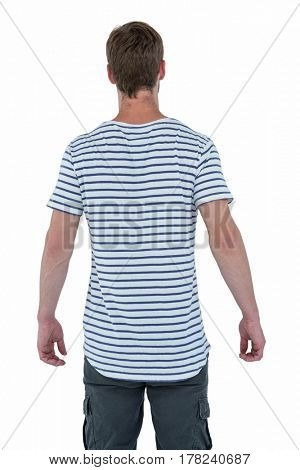 Back view of a hipster man on white background