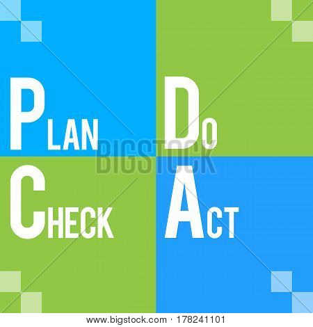 PDCA text alphabets written over blue background.